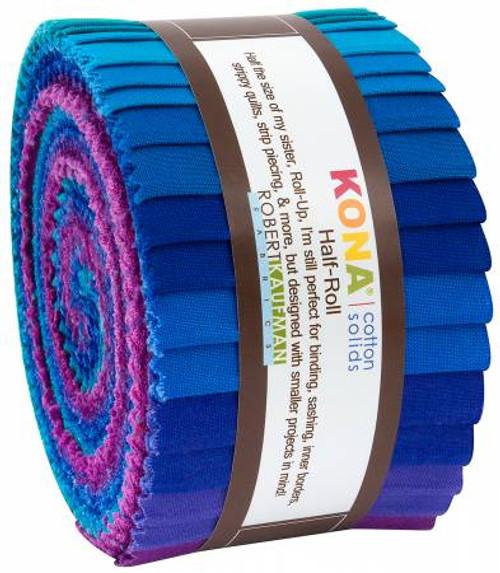 Jelly Roll - Kona Solids Peacock - 24 pieces - Robert Kaufman Cotton (HR-142-24)