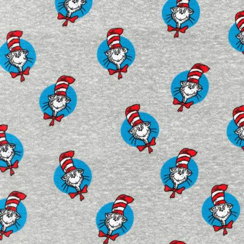 Dr. Seuss Cat in the Hat on Grey - Robert Kaufman Knit (ADEK-73553-12)