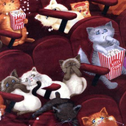Wine Cats in Movies - Timeless Treasures Cotton (C8141-WINE)