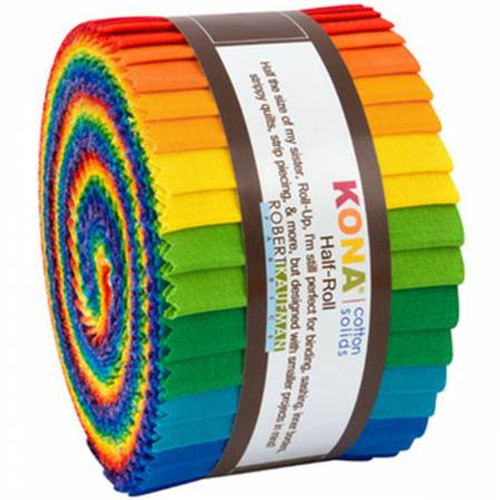 Jelly Roll - Kona Cotton Bright Rainbow Palette - 24 pieces - Robert Kaufman Cotton (HR-156-24)