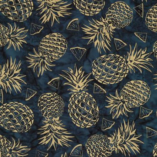 Nite Pineapple Batik with Metallic - Michael Miller Cotton (BTM8827-NITE)