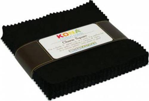 "5"" Squares - Kona Black - 42 Pieces - Robert Kaufman Cotton (CHS-124-42)"