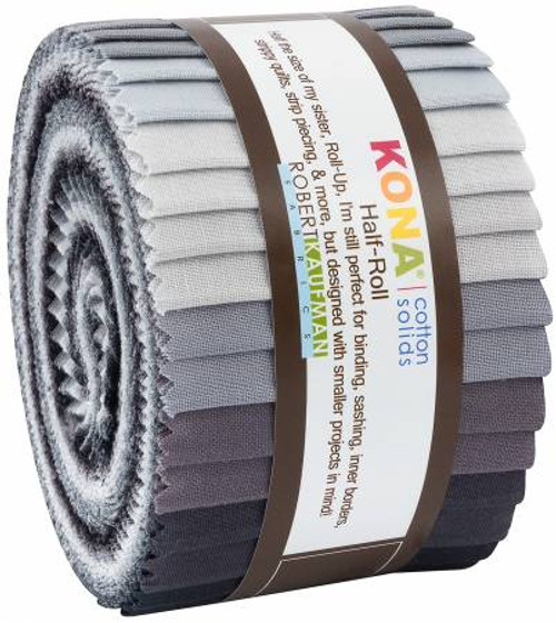 Jelly Roll - Kona Solids Stormy Skies - 24 pieces - Robert Kaufman Cotton ( HR-146-24)