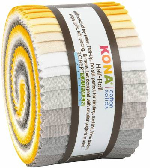 Jelly Roll - Kona Solids Sunny Side Up - 24 pieces - Robert Kaufman Cotton (HR-149-24)