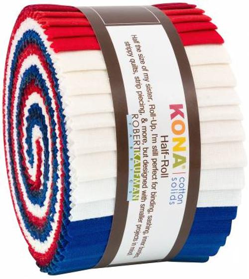 Jelly Roll - Kona Solids Patriotic - 24 pieces - Robert Kaufman Cotton (HR-151-24)