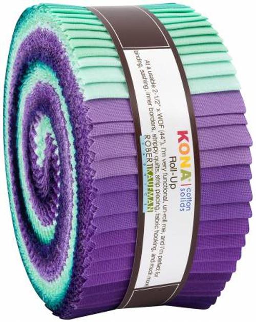 Jelly Roll - Aurora Kona Solids - 40 pieces - Robert Kaufman Cotton (RU-783-40)