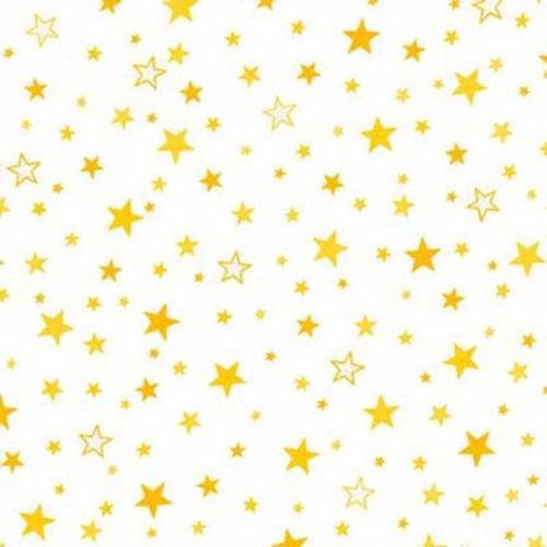 Yellow Stars on White - Robert Kaufman Flannel - 1/2 yard