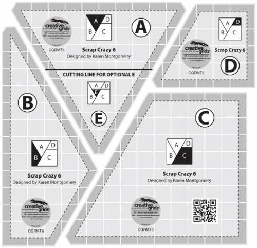 Creative Grids Scrap Crazy 6 Templates Quilt Ruler (CGRMT6)