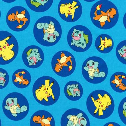 Pokemon in Circles on Blue - Robert Kaufman Cotton (17721-4)