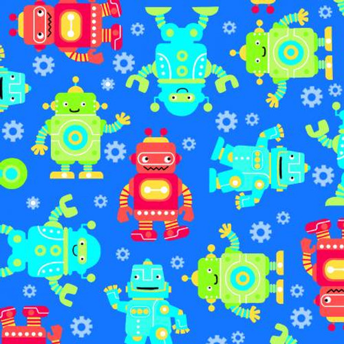 Robots on Blue - AE Nathan Flannel(0973AE-77)
