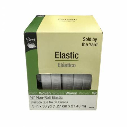 """White Ribbed Non Roll 1/2"""" Elastic - 1/2 yard"""