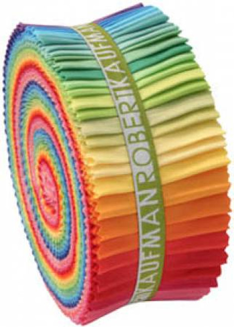 Jelly Roll - Bright Palette Kona Solids - 41 pieces - Robert Kaufman Cotton (RU-231-41)