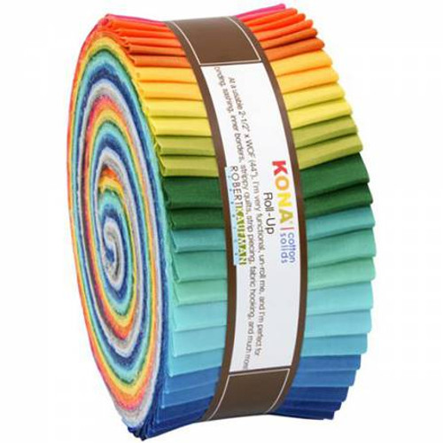 Jelly Roll - Summer Kona Solids - 40 pieces - Robert Kaufman Cotton (RU-287-40)