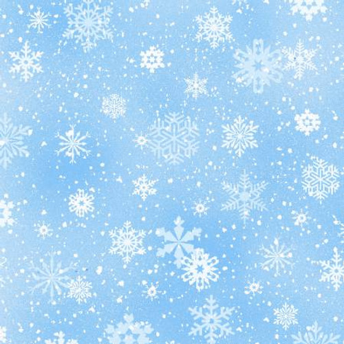 Light Blue Snowflakes - Elizabeth's Studio Cotton - 1/2 yard ( 532E-SNOW)