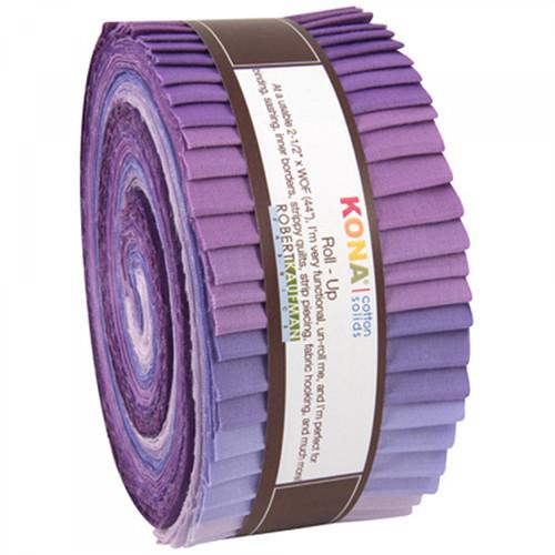 Jelly Roll 2-1/2in Strips Kona Cotton Lavender Fields 40pcs- Robert Kaufman Cotton