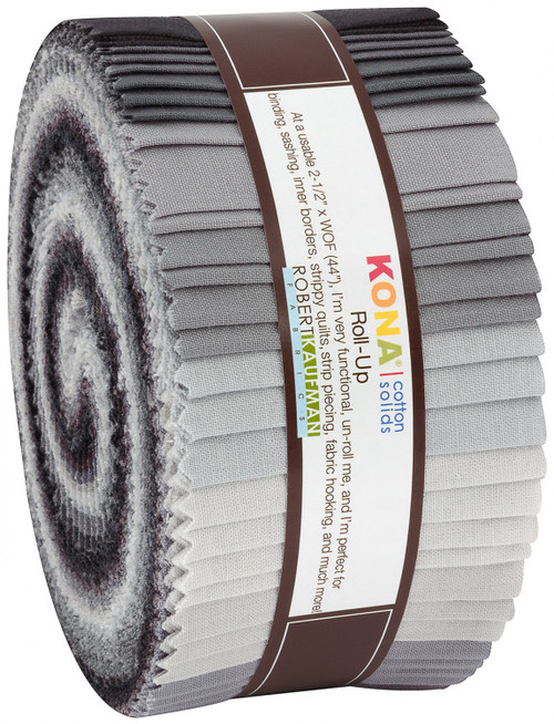 Jelly Roll 2-1/2in Strips Kona Cotton Stormy Skies Palette, 40pcs/bundle- Robert Kaufman Cotton
