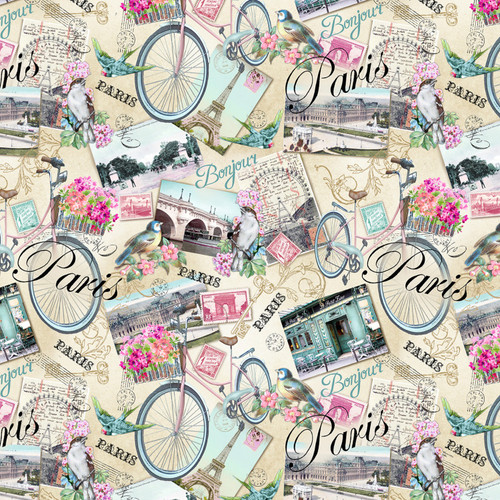 Multi Paris Postcards - Timeless Treasures Cotton - 1/2 yard