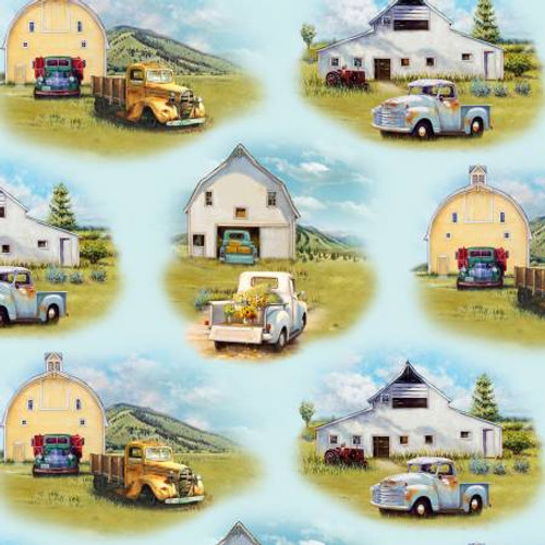 Blue Vintage Trucks Scenic- Elizabeth's Studio Cotton - 1/2 yard (21001E-BLU)