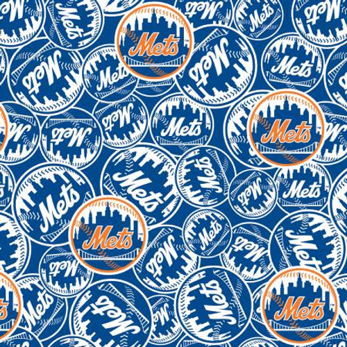 "MLB New York Mets 60"" Wide Cotton - 1/2 yard"