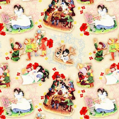 Vintage Storybook Cream Snow White Mirror Mirror - David Textiles Cotton - 1/2 yard (BW01860C6)