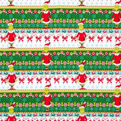 Border Stripe Dr. Seuss How the Grinch Stole Christmas - Robert Kaufman Cotton - 1/2 yard (ADE733301)