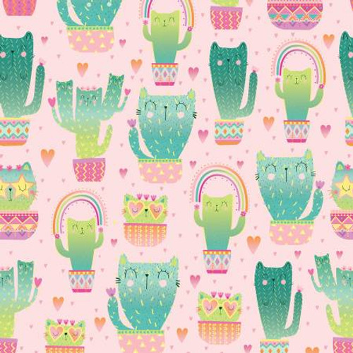 Pink Quirky Cat Cacti - Timeless Treasures Cotton - 1/2 yard