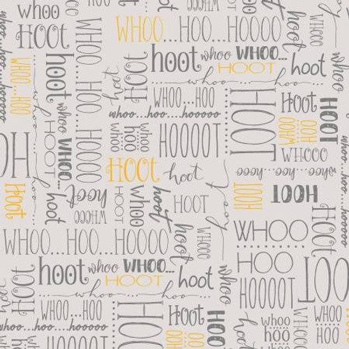 Light Grey Whoo's Who - Windham Fabrics Cotton - 1/2 yard (51596-7)