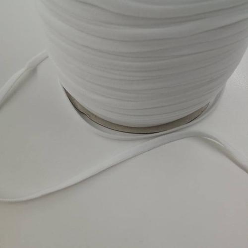 6mm White Flat Elastic - 1/2 yard