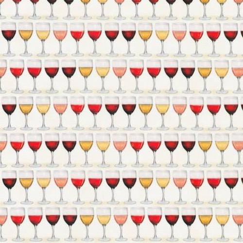 Wine Wine Glasses - Robert Kaufman Cotton - 1/2 yard