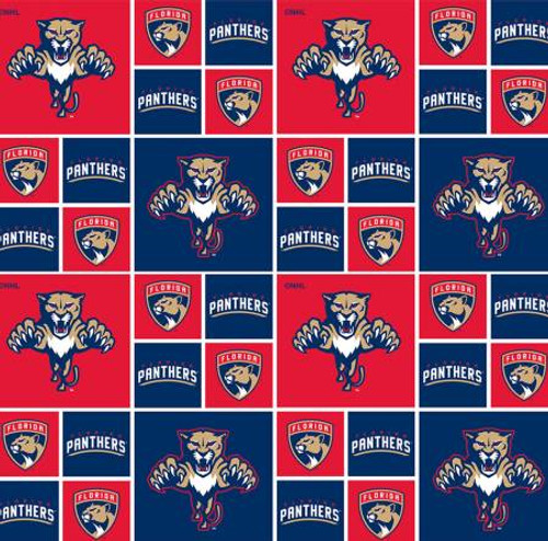 NHL Hockey Florida Panthers on Cotton - Sykel Enterprises - 1/2 yard