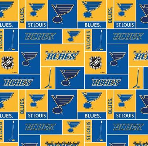 NHL Hockey Saint Louis Blues Small Scale Box Allover on Cotton - Sykel Enterprises - 1/2 yard