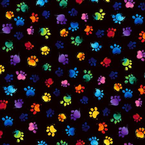 Rainbow Paw Prints - Timeless Treasures Cotton - 1/2 yard (C7487-BLACK)