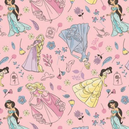 Pink Charming Princesses - Camelot Flannel - 1/2 yard