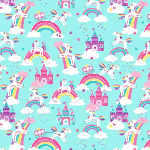 Aqua Unicorn Dreams Pearlized - Kanvas Cotton - 1/2 yard