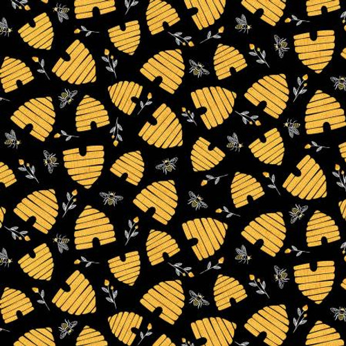 Black Bee Hives - Timeless Treasures Cotton - 1/2 yard