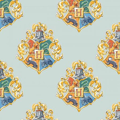Houses on Mint Harry Potter - Camelot Cotton - 1/2 yard (23800523-2)
