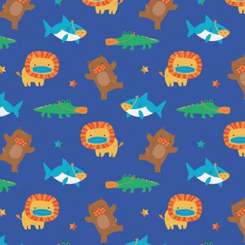 Mask Up Shark Lion Bear Gator - Paintbrush Studio Cotton - 1/2 yard