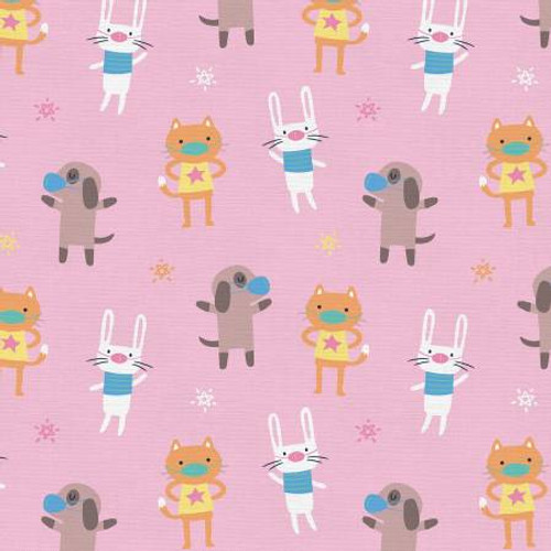 Mask Up Cat Dog Bunny - Paintbrush Studio Cotton - 1/2 yard