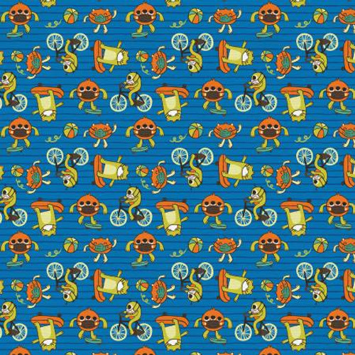 Have Fun, Stay Safe Monsters Blue - Paintbrush Studio Cotton - 1/2 yard