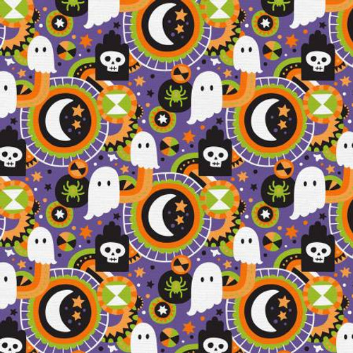 Purple Halloween Graveyard - Paintbrush Studio Cotton - 1/2 yard (120-21307)