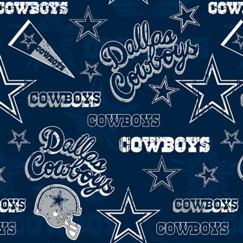 "Fancy Blue NFL Dallas Cowboys 60"" Wide - Fabric Traditions Cotton - 1/2 yard (14443-D)"