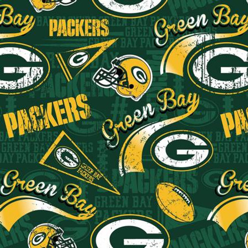 "Fancy NFL Green Bay Packers on Green 60"" Wide Cotton - 1/2 yard (14837-D)"