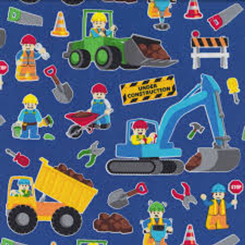 Lego Inspired Royal Construction Workers - Timeless Treasures Cotton (C2749)