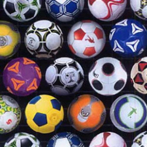 Soccer Balls on Black - Sports - Elizabeth's Studio Cotton