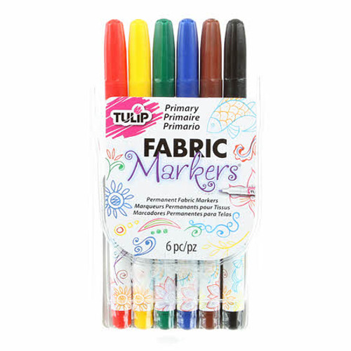 Fine Tip Primary Colour Fabric Markers - 6 pack
