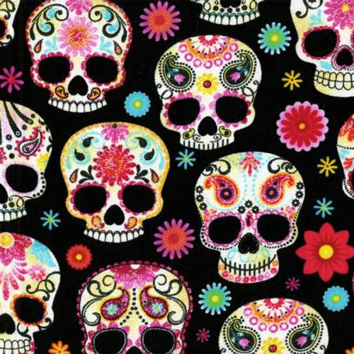 Day of the Dead Skulls on Black - Timeless Treasures Cotton (C4139-BLACK)