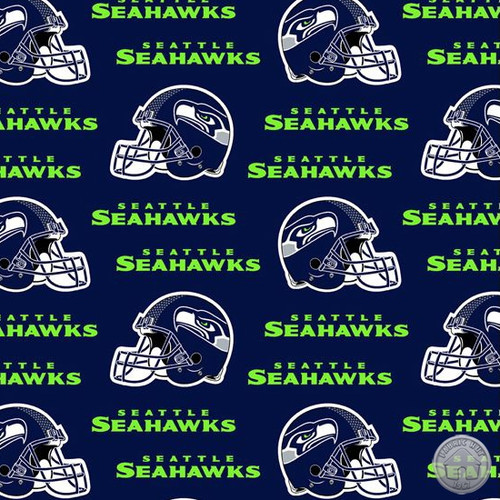 "NFL Navy Seattle Seahawks 60"" Wide Cotton (6402-D)"