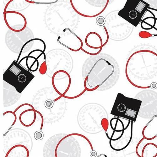 Blood Pressure Cuffs and Stethoscopes - Windham Fabrics Cotton (37304-2)