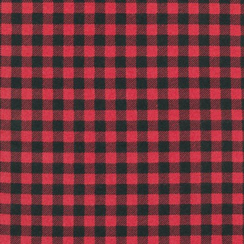 Red/Black Plaid Small Check Beaver - Robert Kaufman Flannel - 1/2 yard