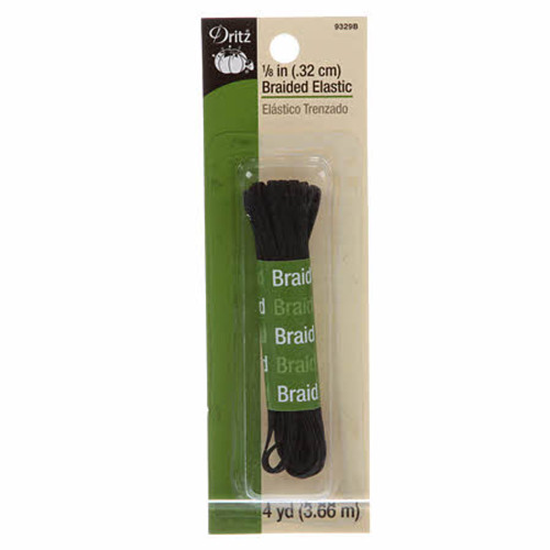 "Black 1/8"" Braided Elastic - 4 yd pack"